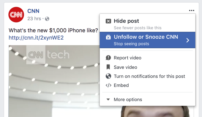 Image result for Facebook launches Snooze feature to mute your annoying online pals